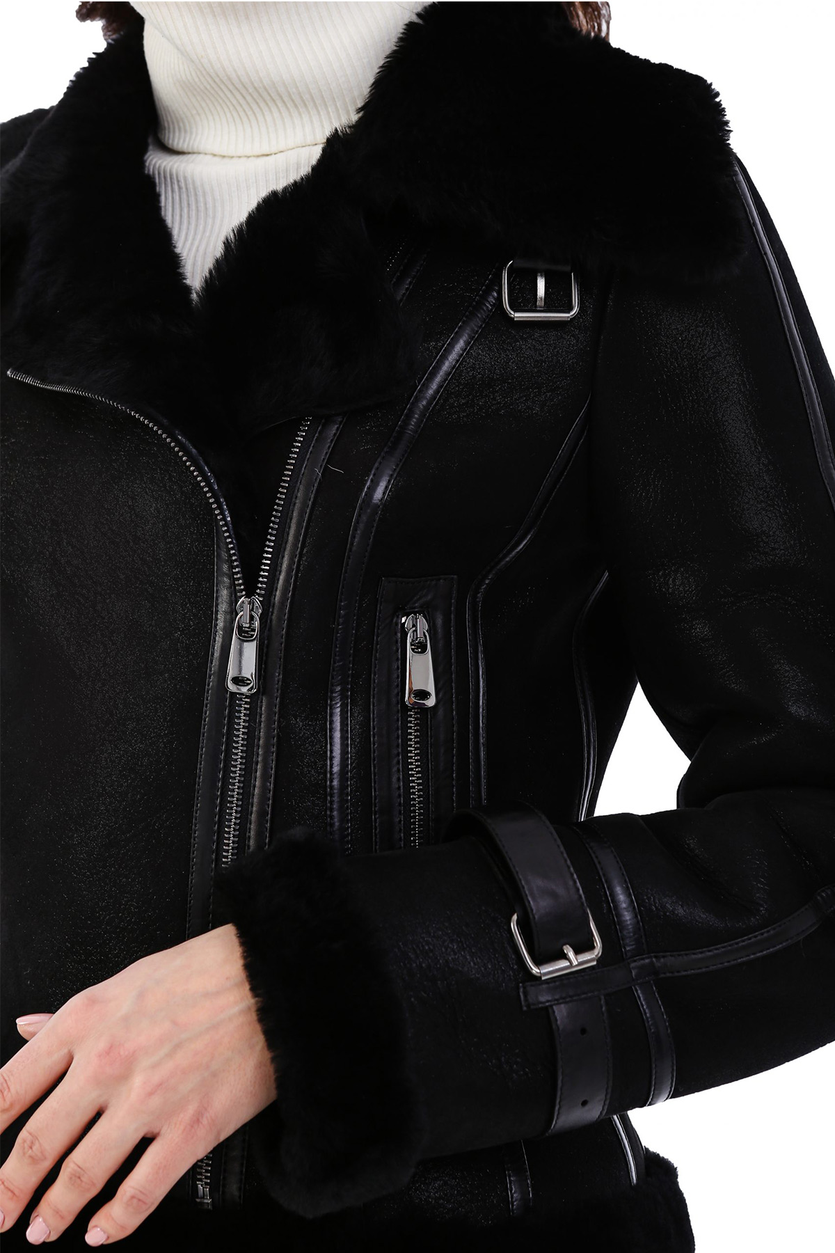 Real Leather Jacket With Fur Collar