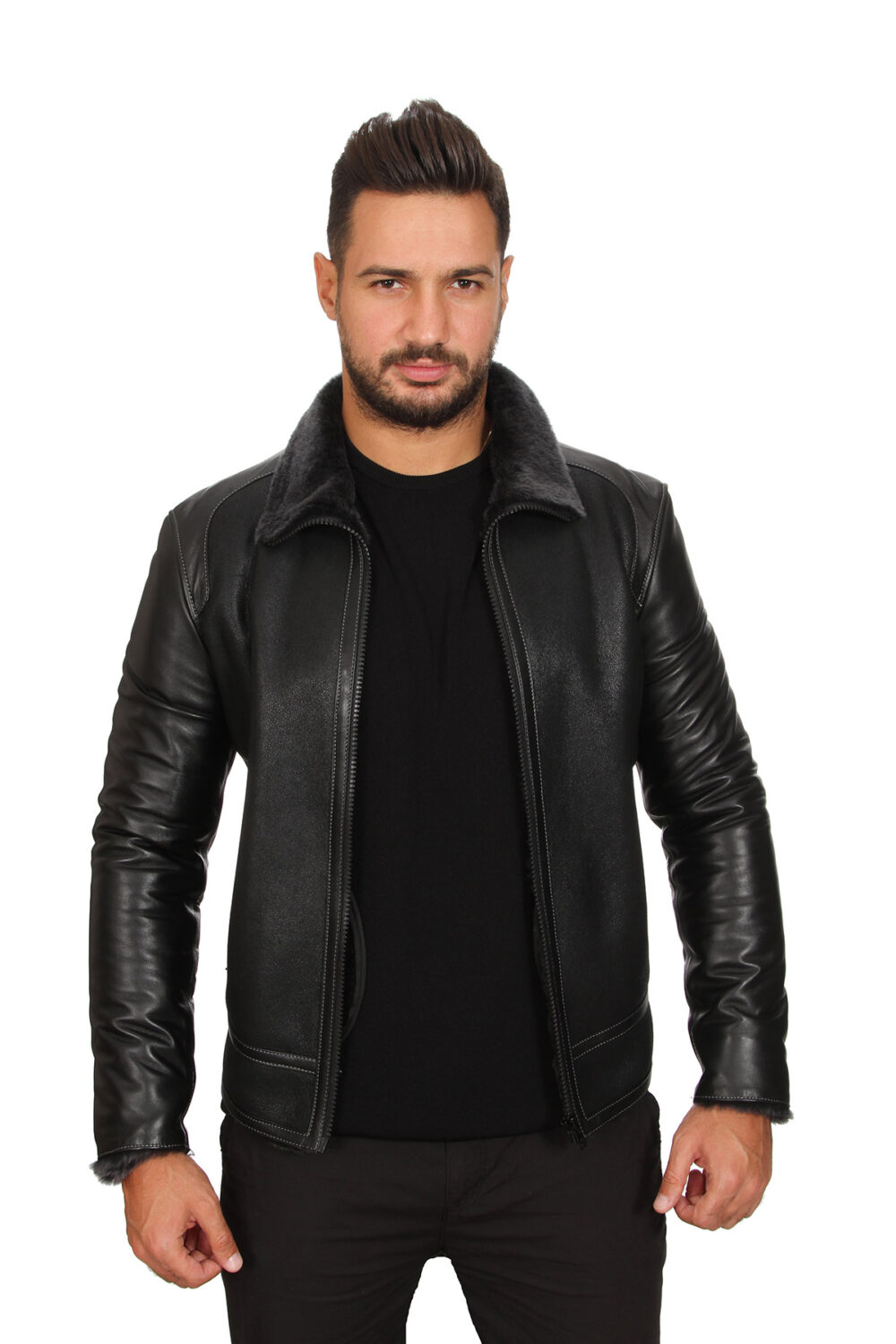 Thick Leather Jacket Mens