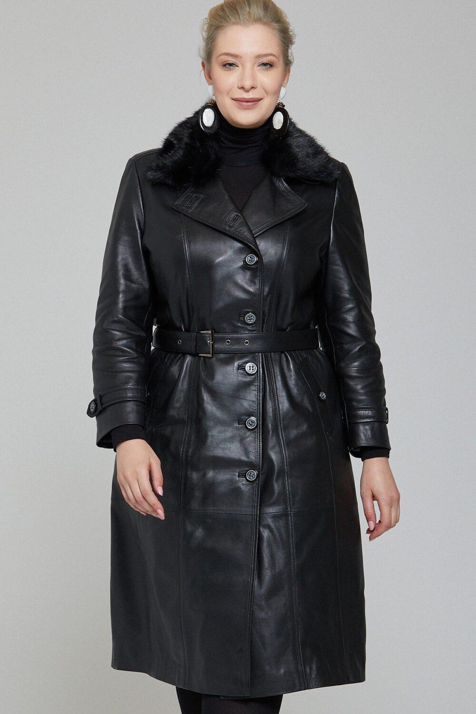 Stylish Leather Long Coat Womens