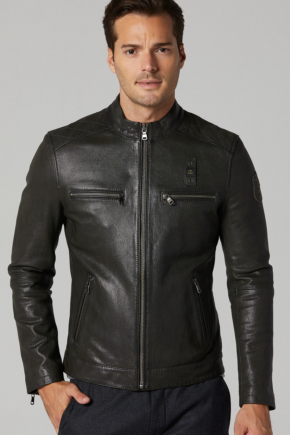 Shearling Leather Aviator Jacket Mens