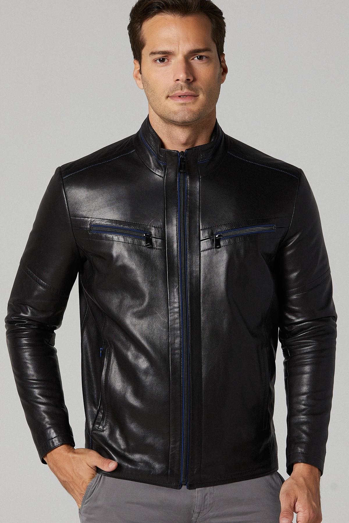 Men's Lambskin Leather Moto Jacket
