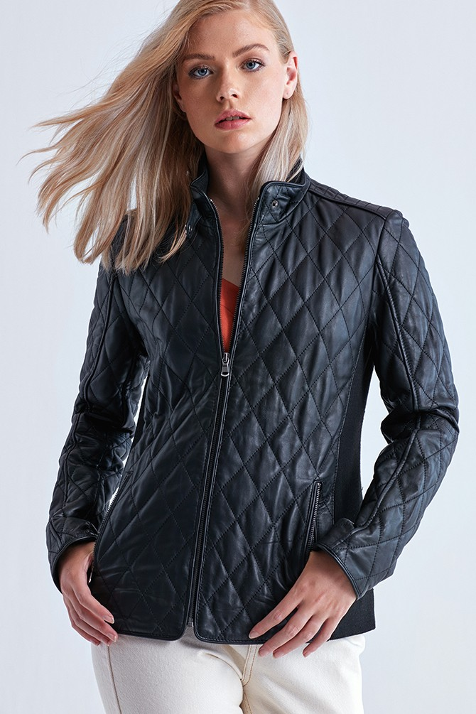 Quilted Leather Bomber Jacket Womens