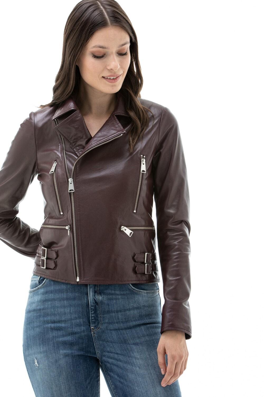 Donna Lambskin Leather Moto Jacket