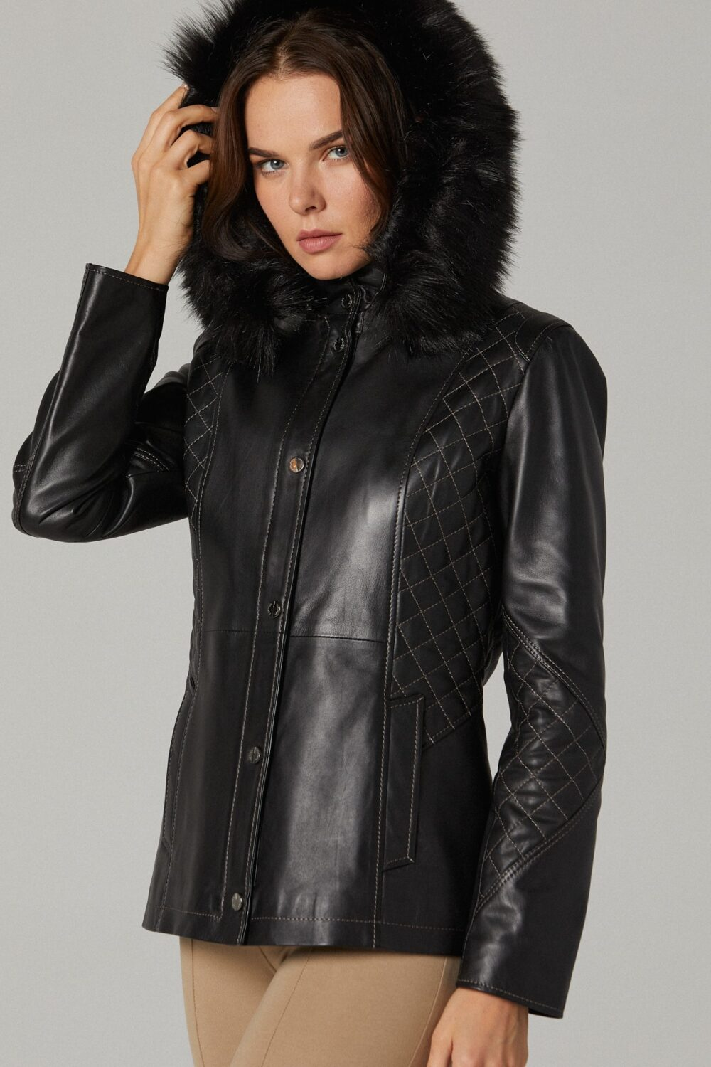 Leather Jacket With Hoodie Women's