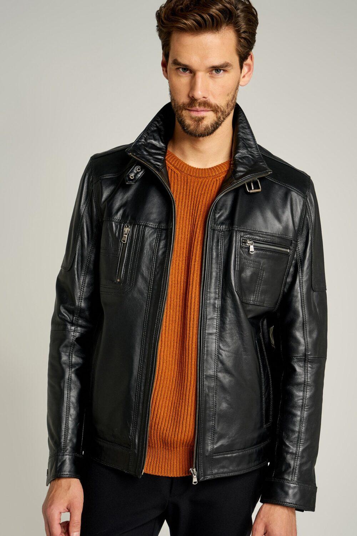 Oscar Black Men's Biker Style Leather Jacket