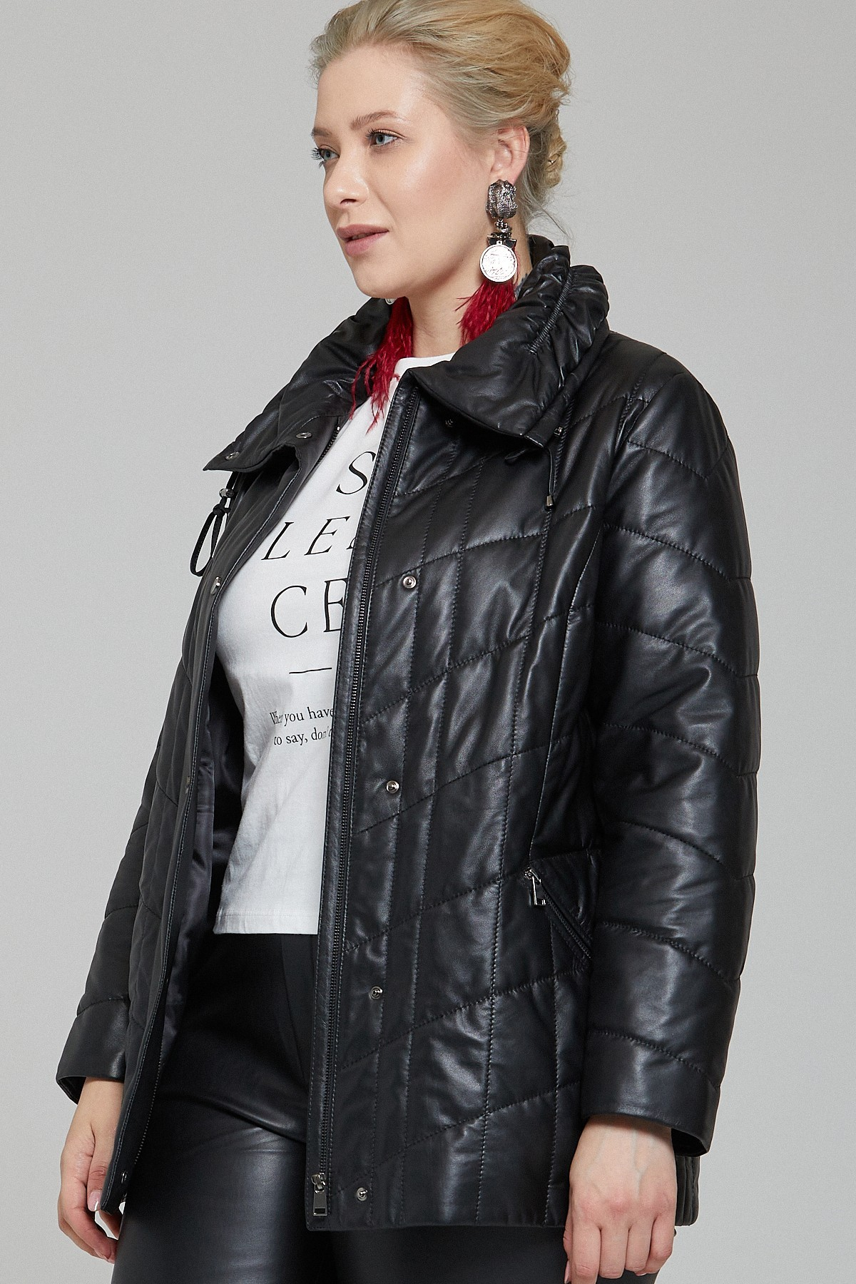 Womens Black Quilted Leather Jacket