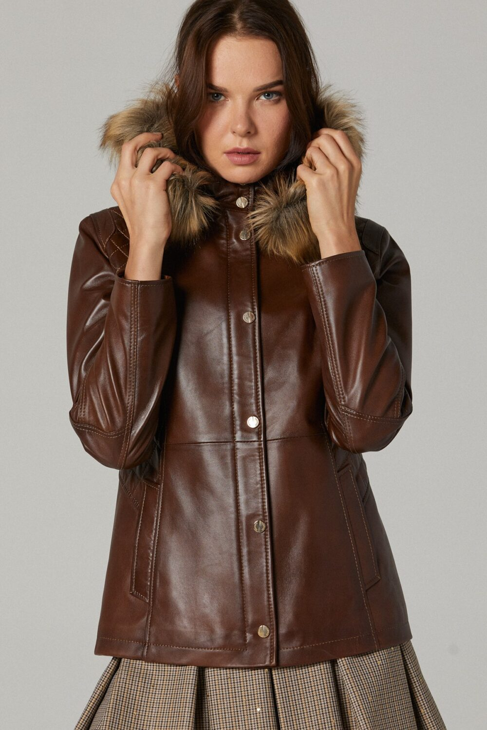 Leather Quilted Jacket Womens