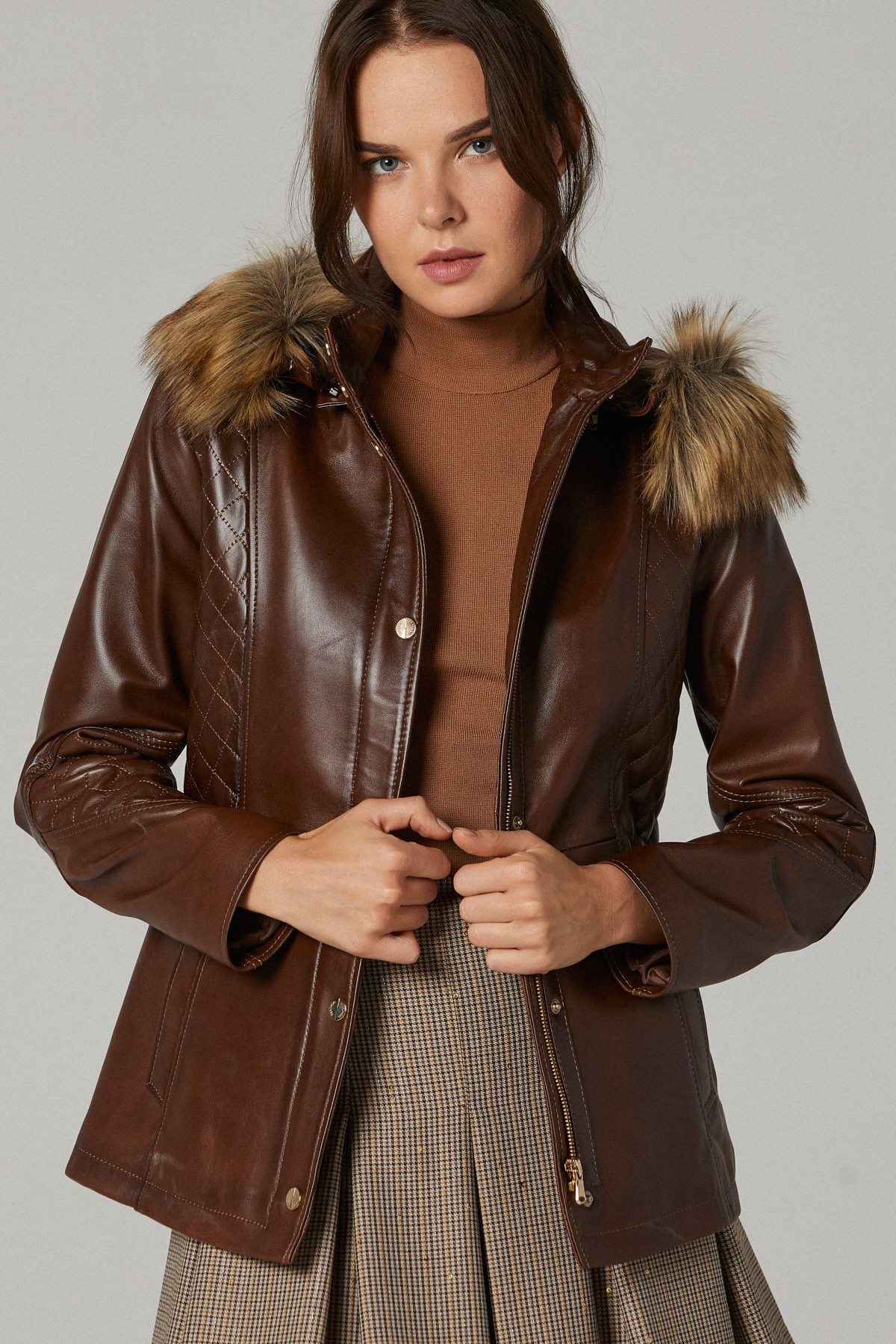 Fur Collared Leather Jacket