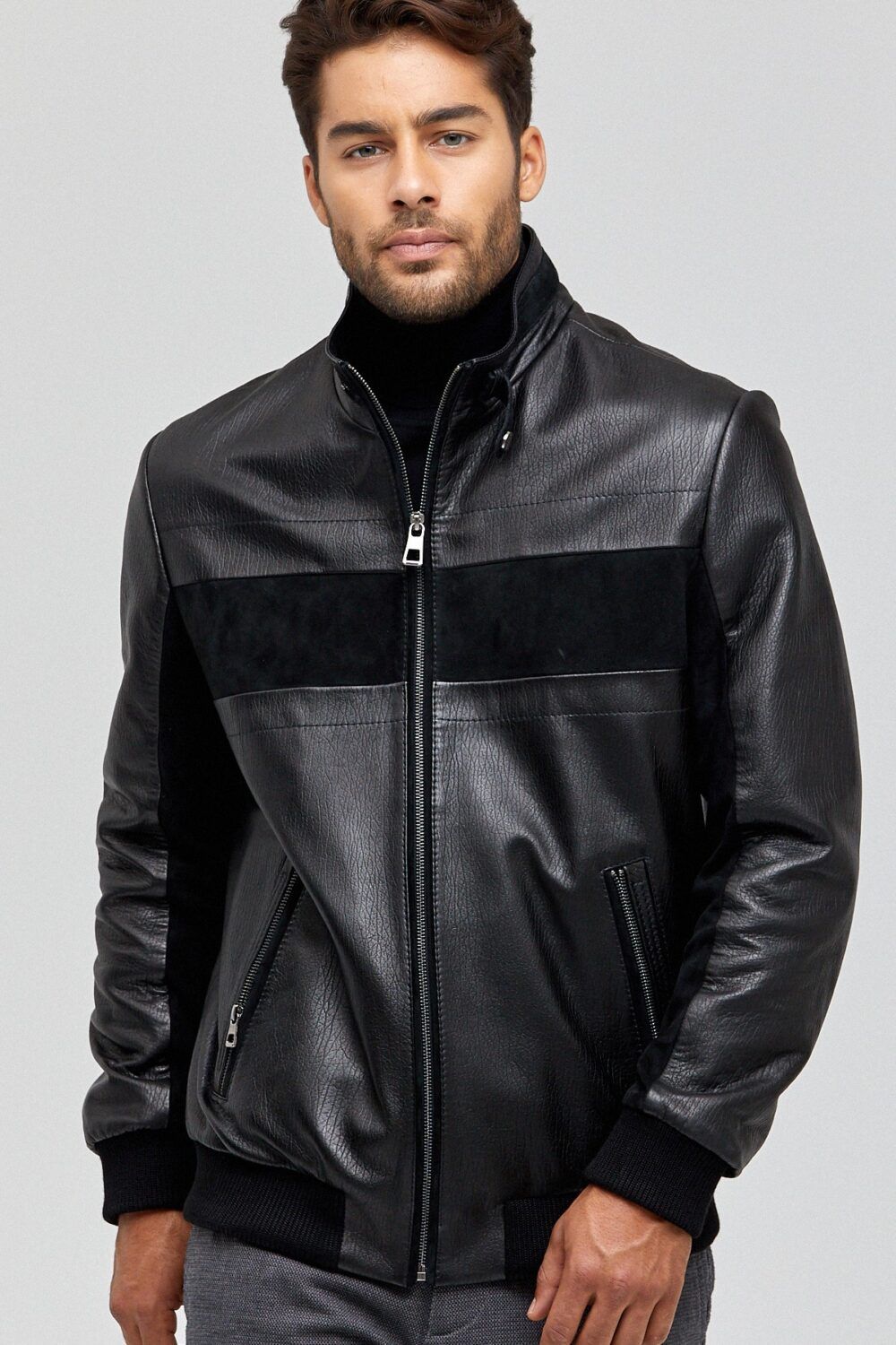 Black Mens Biker Leather Jacket