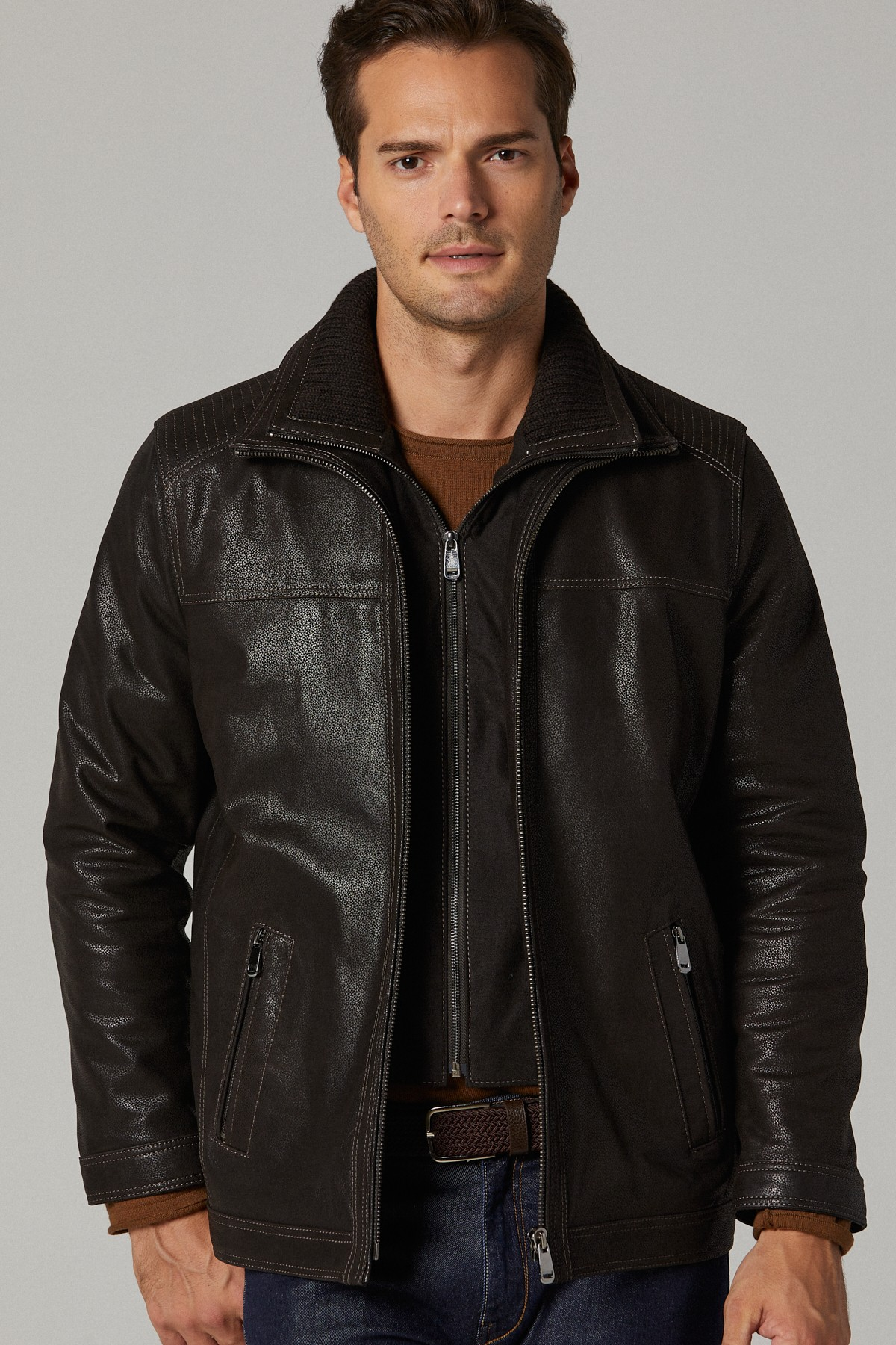 Leather Look Jackets Mens