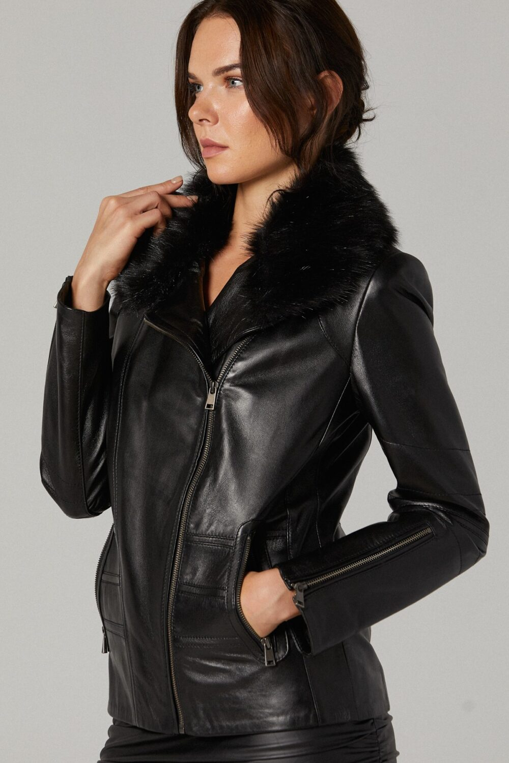 Fur Lined Leather Jacket Womens