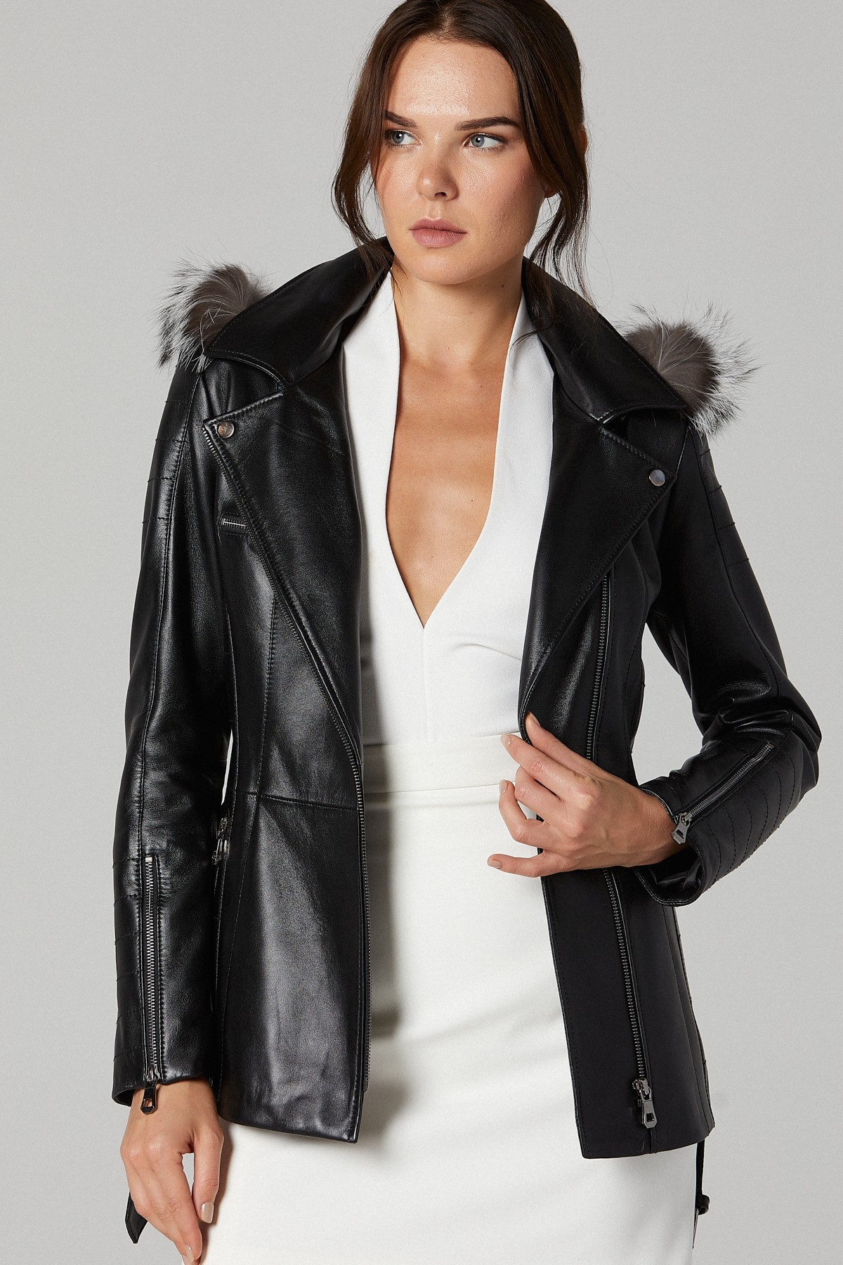 Leather Bomber Jacket With Fur Collar Womens