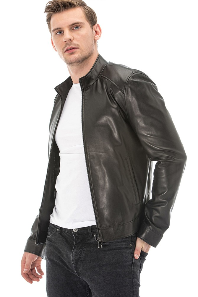 Double Sided Black and Grey Leather Jacket for Mens