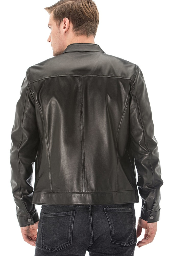 Double Faces Black and Grey Leather Jacket