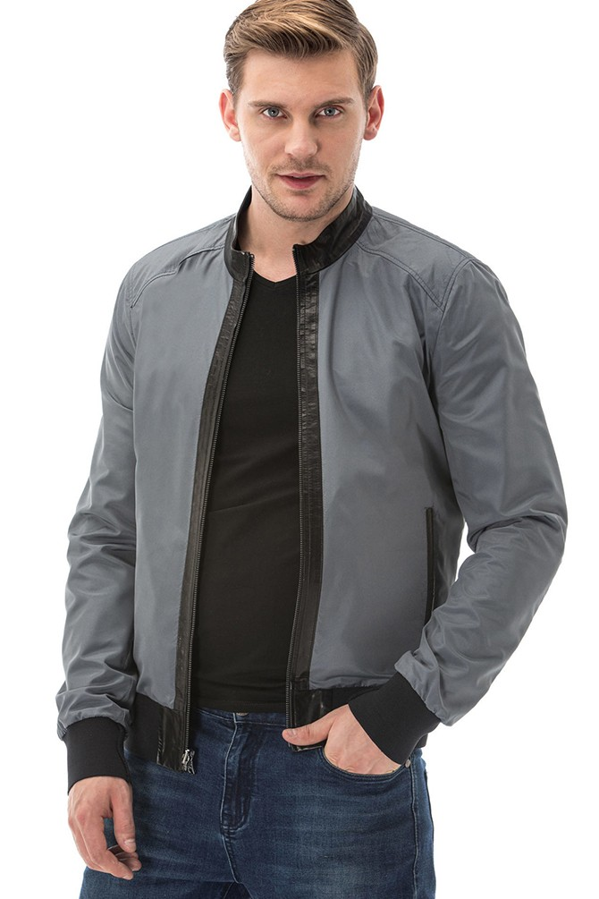 Reversible Jacket in Grey and Black Leather