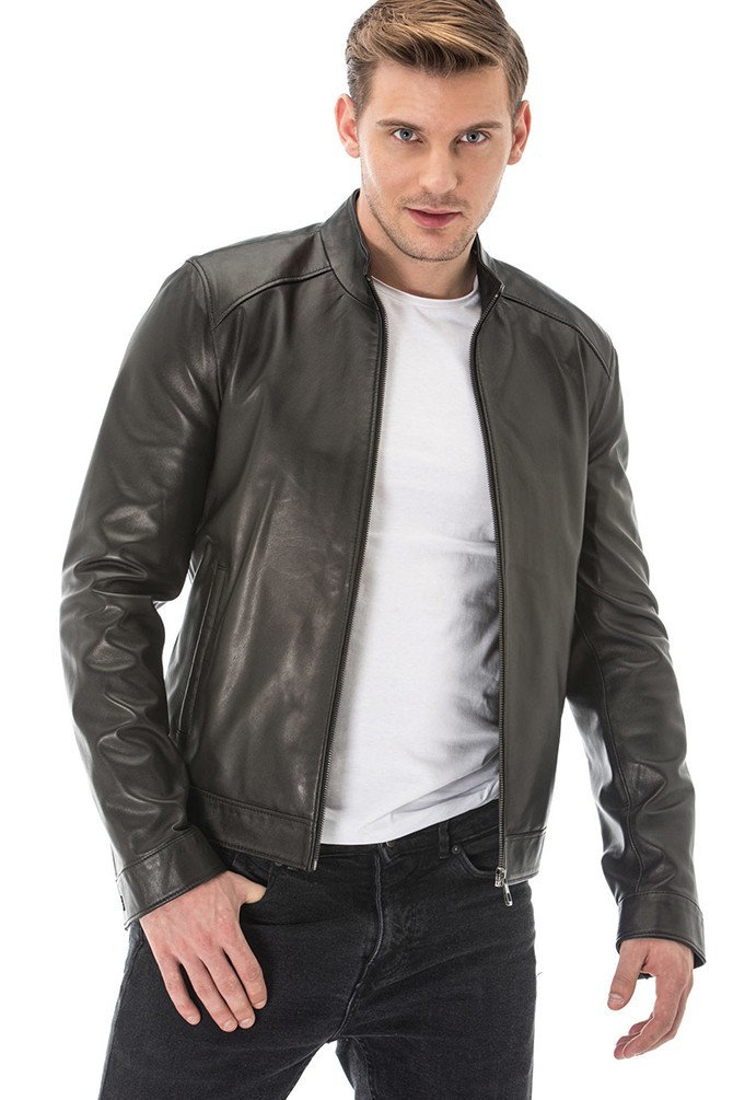 Double Sided Black and Grey Leather Jacket